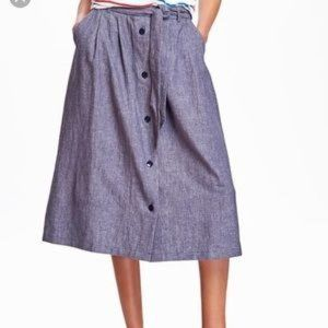 Old Navy Chambaray Linen Midi Skirt